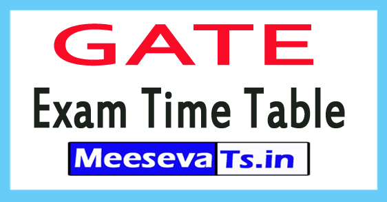 GATE Exam Time Table 2018