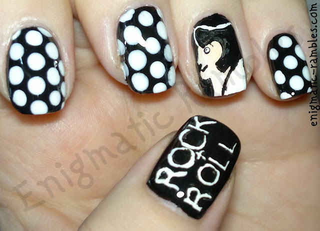 1960s-60s-rock-and-roll-rockabilly-nails-nail-art-freehand-polka-dot-elvis