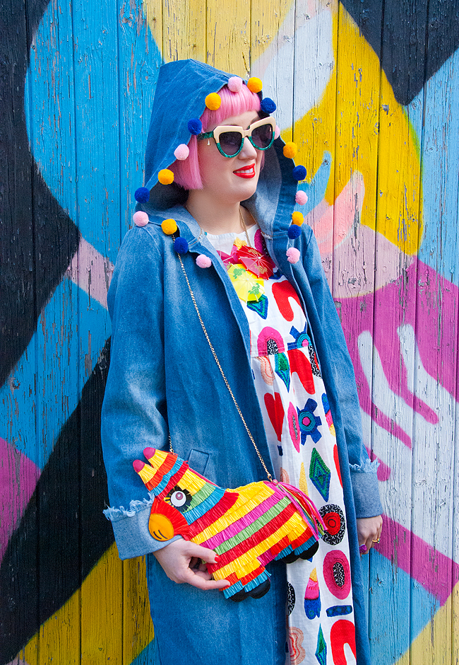 pom pom hood, piñata bag, Charlotte Olympia