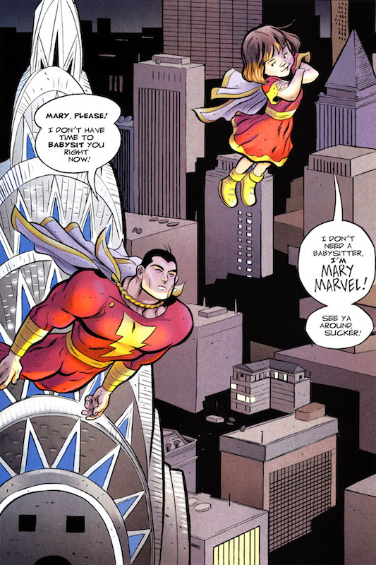 Shazam!: The Monster Society of Evil, By Jeff Smith. Colors: Steve Hamaker. Captain Marvel and Mary Marvel created by C. C. Beck, Bill Parker, Otto Binder, Marc Swayze.