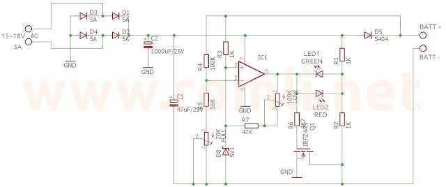 Skema rangkaian charger aki otomatis dengan IC TL081 / TL061 / TL071