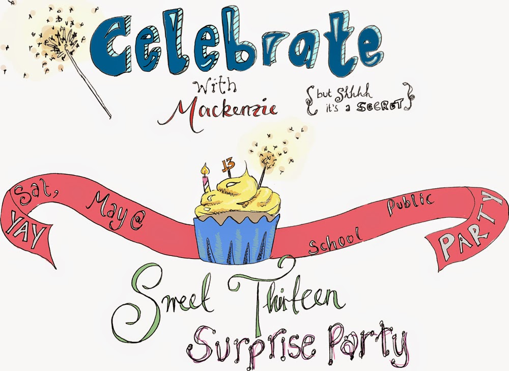 Surprise 13th birthday party invite, illustrated
