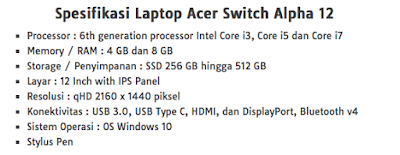 Spesifikasi Acer Switch Alpha 12