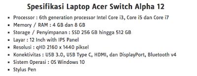 Spesifikasi Acer Switch Alpha 12