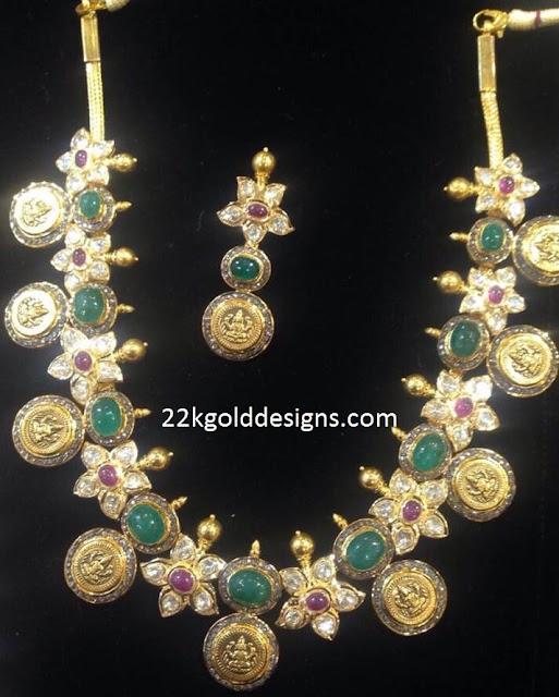 Kasu Floral Necklace and kasu earrings