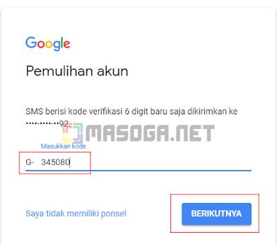 Tunggu beberapa menit untuk mendapatkan kode verifikasi dari Google, Setelah kode tiba silahkan masukan seperti dibawah ini :