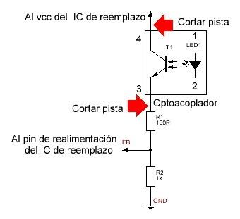 conexión del optoacoplador detalle de resistencias.