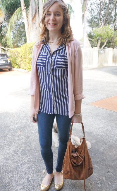 Jeanswest Louisa stripe sleeveless shirt navy and pink blush blazer skinny jeans