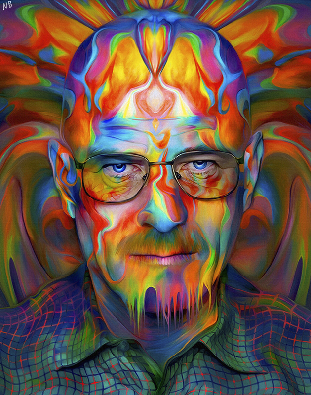 11-Walter-White-Breaking-Bad-Bryan-Cranston-Nicky-Barkla-Psychedelic-Celebrity-Portrait-Paintings-www-designstack-co