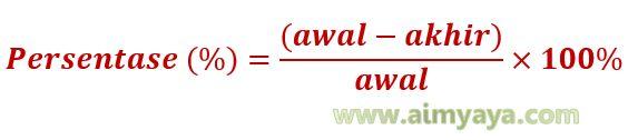 Gambar Rumus menghitung Persentase Penurunan: Persentase (%) = (awal – akhir) / awal x 100%