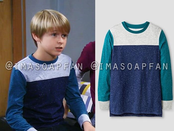 Jake Spencer, Hudson West, Blue and Grey Colorblock T-Shirt, General Hospital, GH