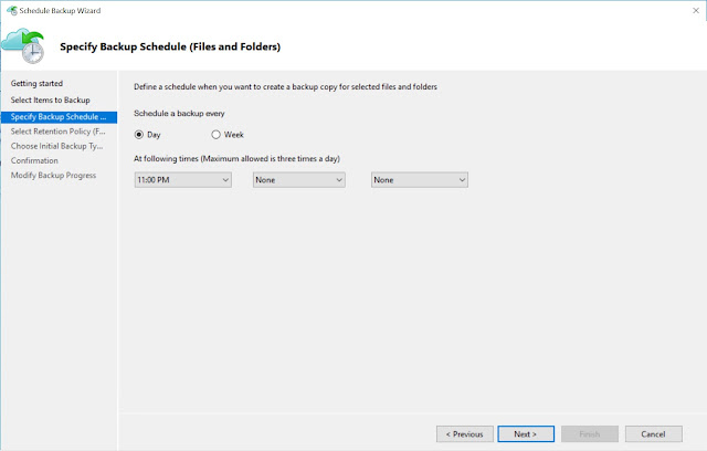 Specify Backup Schedule