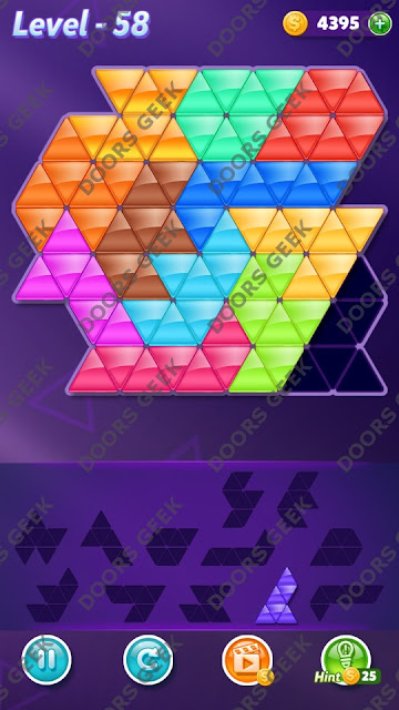 Block! Triangle Puzzle Grandmaster Level 58 Solution, Cheats, Walkthrough for Android, iPhone, iPad and iPod