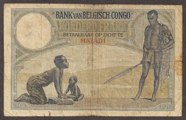 Belgian Congo money 100 Francs note bill banknotes collection