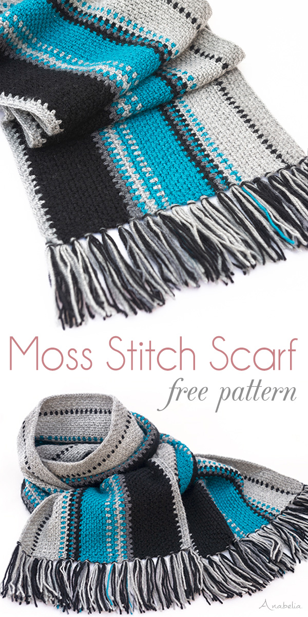 Moss Stitch crochet scarf for men by Anabelia Craft Design