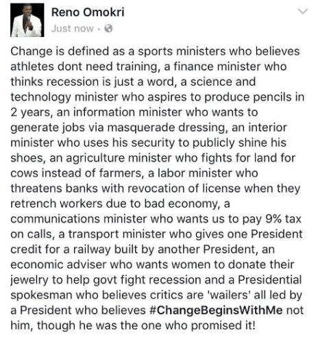 The definition of change - by Reno Omokri...
