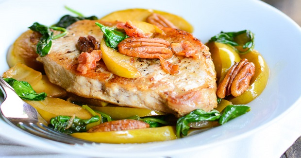 Apple & Spinach Pork Chops Recipe