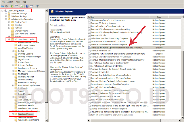 Menghilangkan folder options dari tools