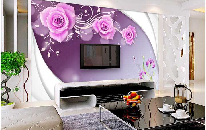 3D wallpaper for walls of modern living room TV wall