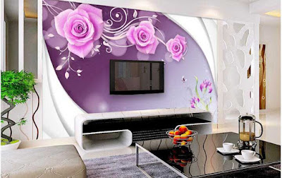 3D wallpaper for walls of modern living room TV wall