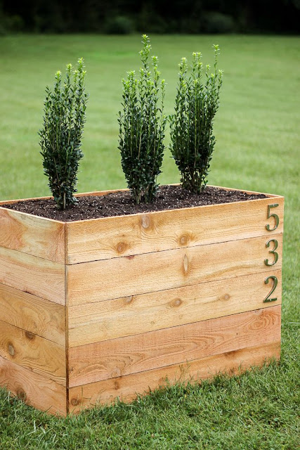 How to make a cedar planter box with address numbers.