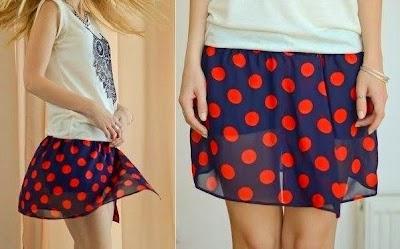 Mini shorts con falda sobrepuesta