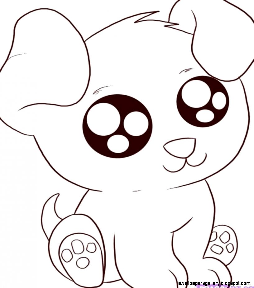 Cute animal drawings easy wallpapers gallery for Cute cartoon puppy coloring pages