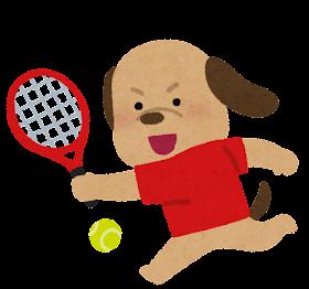 テニスをやる動物のキャラクター(犬)