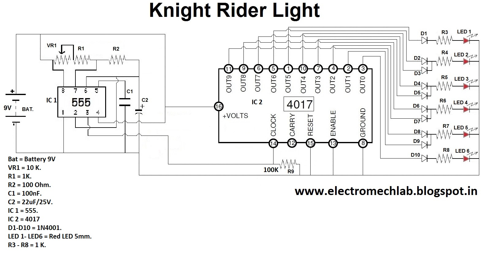 Electromech Lab How To Make Knight Rider Circuit With Ic 555 And 4017 Timer As Astable Multivibrator These Must Be Connected In Proper Polarity