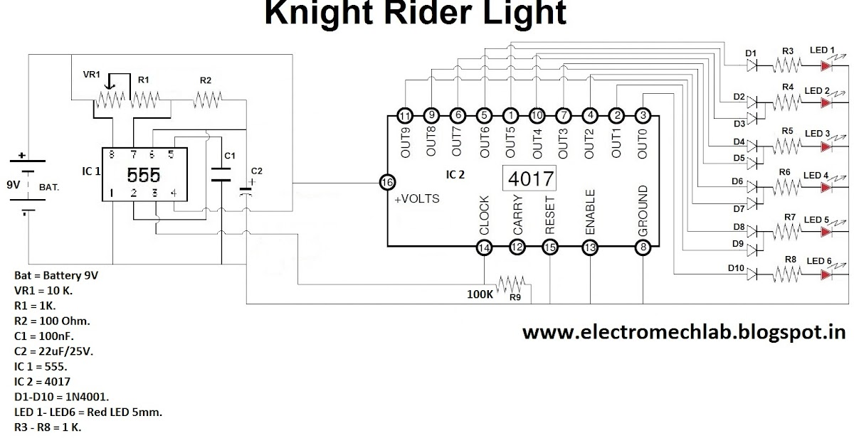 electromech lab how to make knight rider circuit with ic. Black Bedroom Furniture Sets. Home Design Ideas