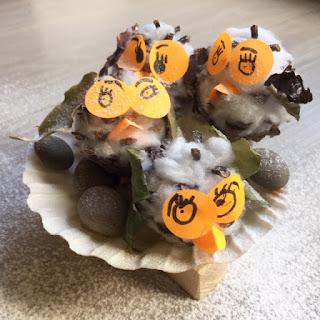 Snowy pine cone owl family