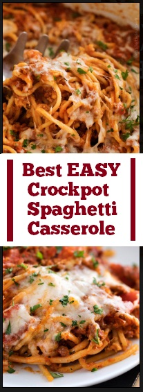 Best EASY Crockpot Spaghetti Casserole Recipe #best #easy #crockpot #spaghetti #casserole #easycrockpot #dinner #maindish #easydinner #whole30