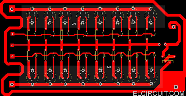 PCB Layout Design 2N3055 MJ2955 Booster Transistor Circuit with Component