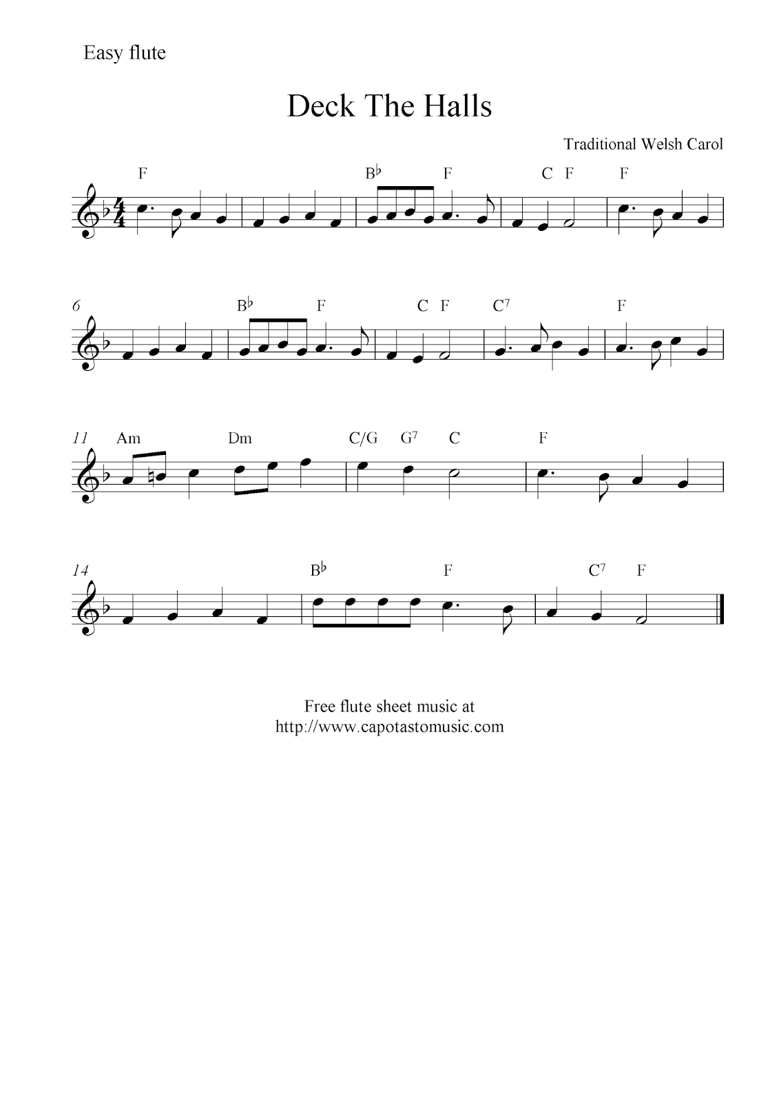 deck the halls free christmas flute sheet music notes