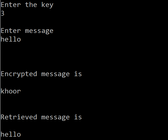C code to Encrypt and Decrypt a message using Substitution Cipher