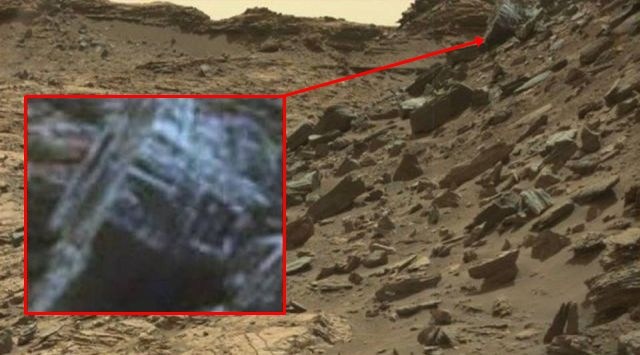 Curiosity image shows crashed or abandoned artificial object on the surface of Mars Artificial%2Bobject%2Bmars