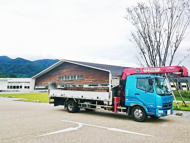枕木 配送 トラック 建築 アクアイグニス 三重