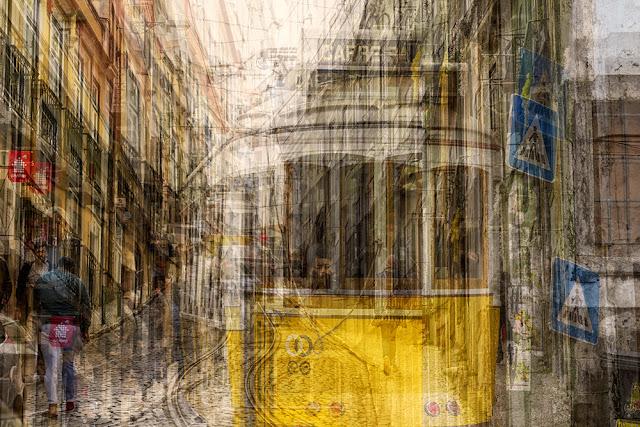Esposizioni multiple di un tram a Lisbona. Di Alessio Trerotoli