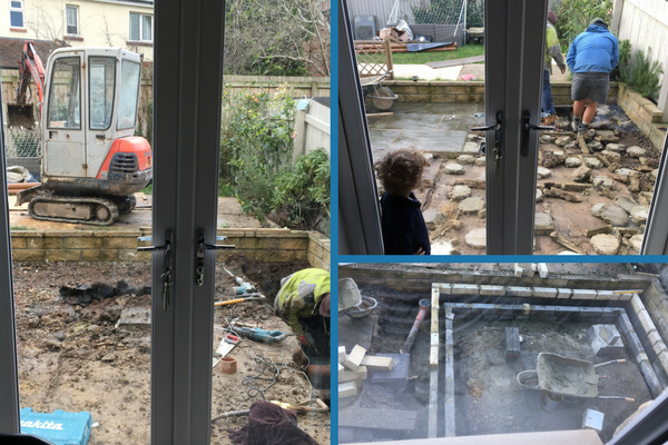 digging the foundations for the playroom extension