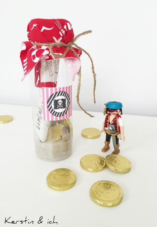 Einladungskarte Flaschenpost Pirat Kindergeburtstag