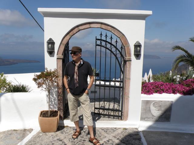 Eingang zum Hotel Agali Houses, Firostefani, Santorin