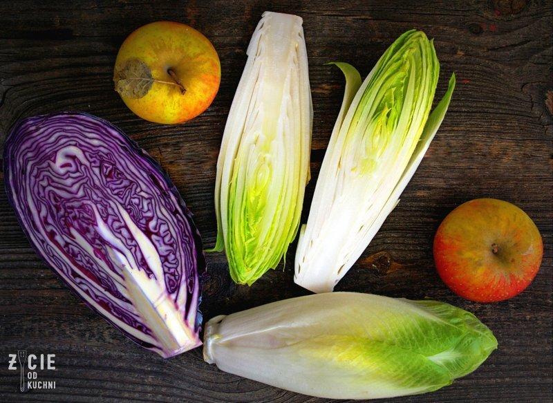 cykoria, goryczka w cykorii, surowka z cykorii, przepisy z cykorii, jak się pozbyc goruyczki z cykorii, styczen sezonowe przepisy, sezonowa kuchnia, zycie od kuchni