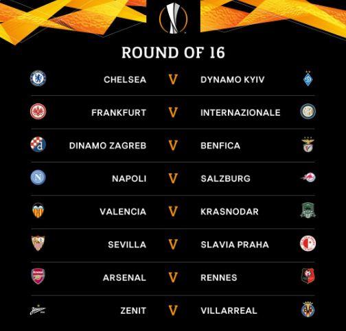Hasil Undian & Jadwal 16 Besar Liga Europa