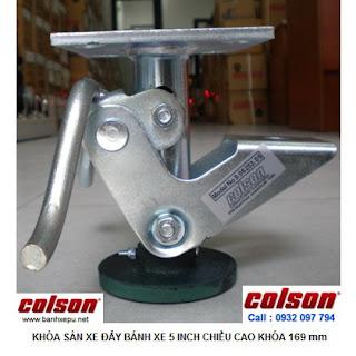 Khóa sàn xe đẩy Colson Floor Lock Brake tổng chiều cao 169mm | 6253x5 banhxepu.net