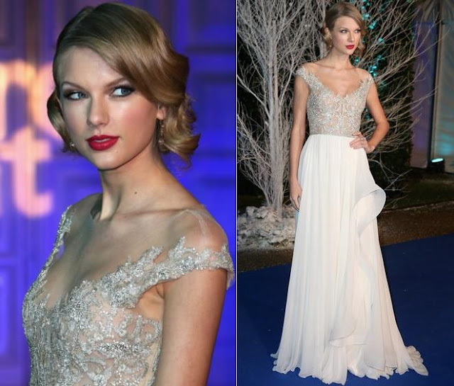 Taylor Swift in Reem Acra – Centrepoint Winter Whites Gala