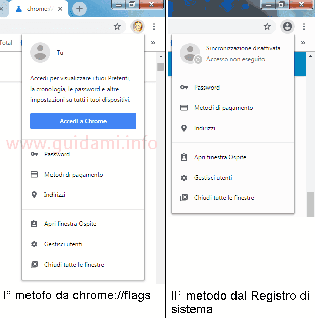 Chrome 69 differenze tra i menu icona profilo account utente