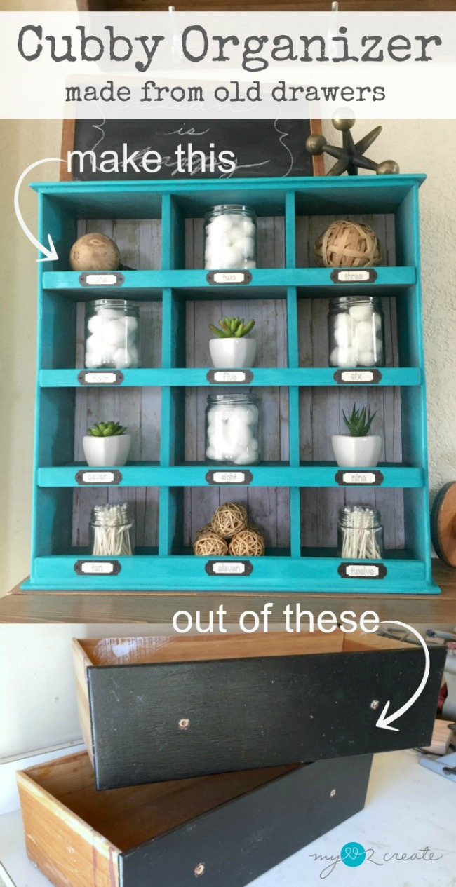 Don't throw out your old drawers!  Repurpose them into a cute cubby organizer with this easy tutorial at MyLove2Create