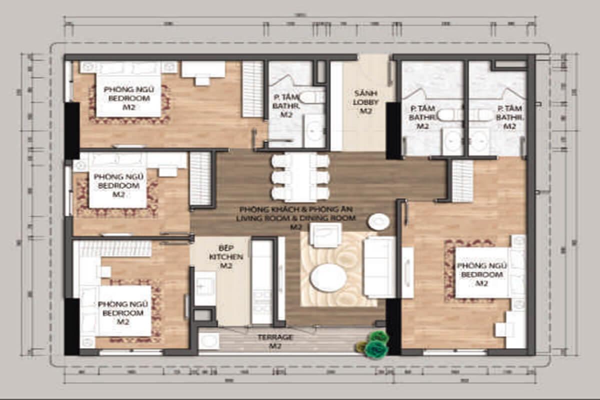 Mặt bằng căn hộ D2-4 phòng ngủ – 126.7m2