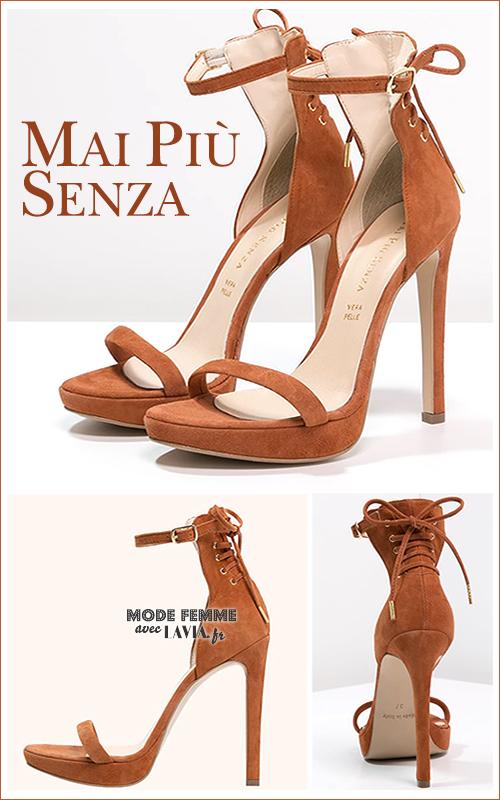Sandales en cuir suédé cognac MAI PIÙ SENZA