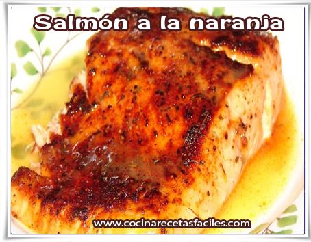 Recetas de pescados , salmón a la naranja